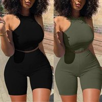 Women's Tracksuits Summer Women Solid Color Clothing Set Sleeveless O-neck Cropped Vest Tops High Waist Short Pants Female Clothes