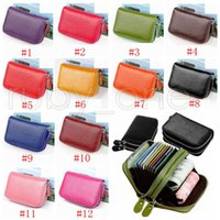 Unisex Leather Id Credit Card Holder Double Zipper Wallet Cowhide Clutch Purse Coin Storage Bags Rra3492