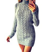Women's Sweaters Women Winter Turtleneck Sweater Dress Casual Long Pullovers
