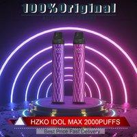 100% original Hzko Idol Max 5% Cigarettes Jugueux Stylo jetables 2000 Puffs Pré-facturé 1100mah 6.5ml Puissance 7W-12W 20Couleurs VS Geek Bar Bar Bang XXL Gunnpod