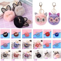 Party Gifts Cute Cat Fur Ball Keychain Girls Star Hand Bag Car Ornaments Accessories Sequins Big Eyes Owl Pendant Keyring Free DHL Ship HH21