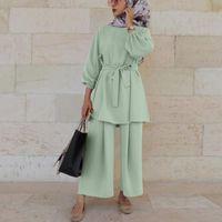 Этническая одежда EID Mubarek Abaya Турция Hijab двух целых мусульманские наборы платье CAFTAN KAFTANS Исламские Абаяс для женских ансамблей Мусульмана