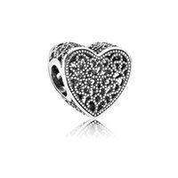 Fashion Charms Jewelry Findings And Components Retro Heart Alloy Loose Bead For Pandox Bracelet Bangle European Style