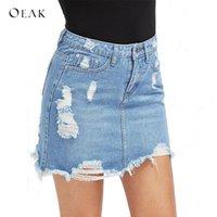 Skirts OEAK Denim Skirt Ripped High Waist Mini Women Pockets Bule Jeans Girls Casual Fashion