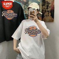 T-shirt a maniche corte Uomini e donne Estate Estate a manica Semi-manica Ins Tide Brand Hong Kong Style Simple Couple Coppia Top HARAJUKU TOUNDING SHIRD COM # BC49