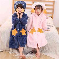 Fashion Cute Rabbit Hooded Robes for Kids Girls Flannel Warm Dressing Gown Children Pineapple Thicken Bathrobe Star Sleepwear 210622