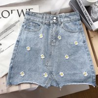 Women's Jeans Denim Shorts Embroidery Sunflower Mid Waist Pocekets Short Preppy Style Button Harajuku Streetwear Women C67