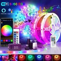 20m 30m 5050 WiFi RGB LED tiras luzes bluetooth luces levou luz RGB SMD 2835 flexibilidade À prova d'água Diodo Control + adaptador