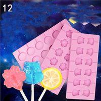 Molde de silicona Lollipop Kid DIY Pequeño Regalo 12 orificios Molde con palitos DIY Kit 3D Fondant Cake Formado redondo Chocolate LLF9082