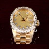 Luxusuhren Mann Uhren Großhandel Mode Uhren Frauen 18 Karat YG Damen Präsident, Fabrik Champagner Diamant-Zifferblatt Mechanische Herrenuhr Armbanduhr F5-1