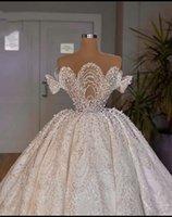 Luxury Ball Gown Pearls Wedding Dresses Lace Appliqued Sheer O Neck Dubai Arabia Bridal Gowns Vestidos De Novias