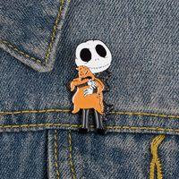 오일 드롭 에나멜 해골 핀 할로윈 homsi 만화 합금 브로치 유니섹스 두개골 의류 배낭 배낭 배지 패션 유럽 액세서리