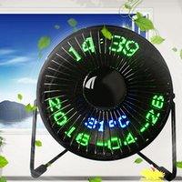 Продажа USB светодиодный часы мини вентилятор с температурой реального времени Дисплей рабочего стола 360 Охлаждающие вентиляторы для домашнего офиса QJY99 Electric