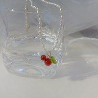 펜던트 목걸이 Lovoacc 여성을위한 달콤한 붉은 색 체리 chokers 자연 민물 진주 과일 목걸이 한국 보석