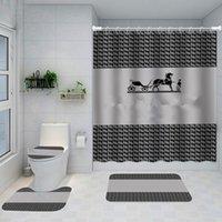 Baskılı Klasik Tasarım Duş Perdeleri Su Geçirmez Banyo Malzemeleri Çok Fonksiyonlu Bölüm Lüks Perde Banyo Kapı Mat