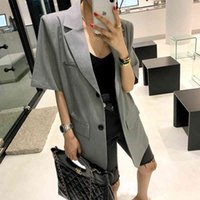 Women's Suits & Blazers Korean female vintage gray blazer, short sleeve jacket with an inlaid collar, loose, solid 6CNI