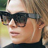 Retângulo de luxo do desenhista de mulheres do sol da placa de marca de pc gradiente lente clássico rivet máscara mulher máscara de olho uv400