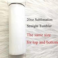 10шт пустой белый сумблимационный тощий прямые тумблеры 20 унций с крышкой и соломой DIY подарки быстрая DHL доставка