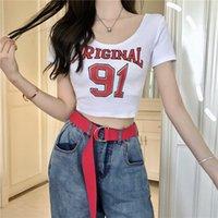 2021 새로운 여성 패션 디자인 여름 반소매 O 넥 레터 프린트 코튼 자르기 탑 티셔츠 높은 허리 섹시 티셔츠 SML