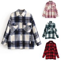 Plaid Overshirt Wool Blend Jacket Check Lapel Collar Long Sleeve Coat Women Oversized Pockets With Flaps Button Jackets Tops 201014