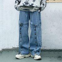 Women's Jeans Vintage Single-breasted Washed Harajuku Ribbon Buckle Loose High Waist Pants Hip Hop Cotton Women Man