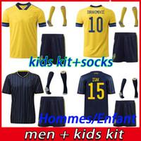2021 Schweden Mens Fussball Jerseys Set 20 21 Nationalmannschaft Ibrahimovic Forsberg Larsson Ekdal Isak Home Football Hemden Erwachsene Kinder Kit + Socken