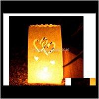 Decorations Festive Supplies & Garden40Pcs Double Heart Light Holder Luminaria Paper Lantern Candle Bag For Wedding Confession Christmas Par