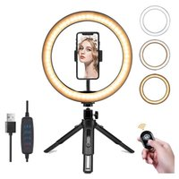 Flash Heads 10 Inch LED Ring Light With Tripod Stand Cell Phone Holder Remote Control For Live Streaming, Makeup, Selfies, Video