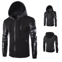 2020 зимняя осень мужская куртка с капюшоном пальто мода шить кожаный рукав мужской молния повседневная пальто черный темно-серый M-2XL