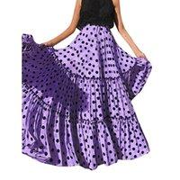 스커트 폴카 도트 인쇄 긴 스커트 여름 Bohe Maxi Dress 높은 허리 여성 해변 우아한 여성 파티 스트리트웨어