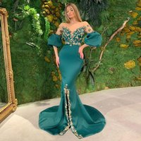 Hunter Mermaid Prom Dresses Sexy Sheer Neck Appliqued Front Split Evening Dress Crystal Beaded Ruched Satin Sweep Train Formal Party Gowns