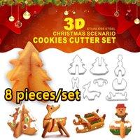 8-piece Set Christmas Series Stainless Steel 3D Biscuit DIY Mold Christmas Tree Snowman Sleigh Elk Baking