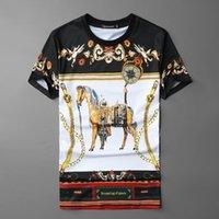 Moda Barroco Impresso de Cavalo Masculina CamiSeta Streetwear Primavera T Camisa O-PESCOO CamiSas Hombre Preto Outro