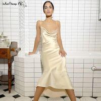 Mnealways18 robe de maillonnée sexy sans dos femme robe de soirée Spaghetti Strap robes dames club drapé sans manches midi robe de soleil satin décontracté
