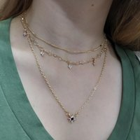 Pendant Necklaces Bohemian Trendy Multi-layers Gold Plating Stars Choker Rhinestone Long Chains Women Necklace
