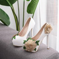 Dress Shoes Women's high heels, crystal queen, designer shoes for marriage, sensual, round bill, party, bow and flower TD3F