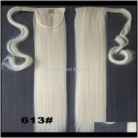 Ponytails Products Drop Delivery 2021 Wholesale-Blonde 22Inch Long Straight Ponytail Pony Tail Clip In Hair Extensions Real Natural Hairpiece
