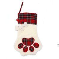 Christmas Stockings Socks Candy Stocking Hanger Toys Gift Bags Bear paw snowflake Sock Xmas Tree Ornaments Decoration DHB8842