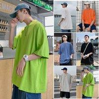 Herren T-Shirts Baumwolle Candy T-Shirt Sommer vielseitig Basis Rundhalsausschnitt Lose Kurzarm Base Shirt Yevs