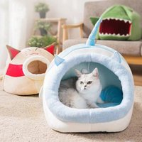 Cat Beds & Furniture Bed Indoor Pet Tent Warm Soft Cushion Novetly Huts Cozy House All Season Sleeping Nest For Small Medium Dog Cats Kitten