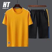 Men's Tracksuits Tracksuit Men Summer Casual Sets Jogger Striped Short Sleeve Tee Sweatsuit 2PC+Sweatshorts Male Patchwork Design Fashion Su