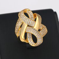 Bride Talk Luxury Arab Nigerian Twisted Line Bold Rings with Zirconia Stones 2020 Women Engagement Party High Quality Jewelryic0b
