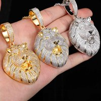 Bling Iced Out Lion Head Necklace Micro Pave Cubic Zircon Pendant for Men Women Gifts Luxury Hip Hop silver fashion Jewelry necklaces