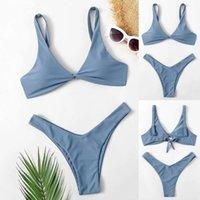 Donne Sexy Sexy Color Color Swimthress Triangolo Alto Contrasto Gradiente Split Bikini Set Push Up Costume da bagno in due pezzi Plavky #GH Costumi da bagno
