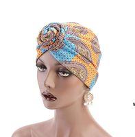 Женщины Мода Печать Завязанные Турбаны Шляпы Afica Индия Стиль Мусульмана Шляпа Бандана Чернокожие Женщины Голова Обертывание Оголовье 15 Цветов HWE6994