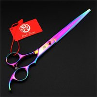 Hair Scissors Purple Dragon Japanese 440c Steel 8 Inch Professional Dog Grooming Tools Clipper Titanium Salon Shear Pet