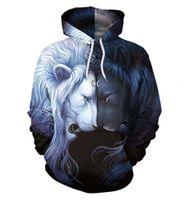 3D men's sweater long sleeve animal digital printing Pullover Youth Popular hooded Lapel Baseball Shirt