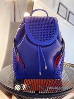 2021 새로운 톱 여성 남성 정품 가죽 학교 배낭 탑 브랜드 양고기 스킨 스파이크 가방 크리스탈 블랙 컬러 핸드백 스포츠 배낭
