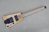 Factory Natural wood Color Headless electric guitar with Black Hardware,Maple fingerboard,HH Pickups,24 Frets,Scalloped Last frets,can be customized
