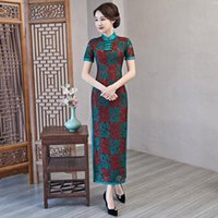 Elegant Plaid Lace Women Cheongsam 2021 Spring Banquet Straight Qipao Gown Sexy Hight Split Mother Wedding Party Chinese Dress Ethnic Clothi